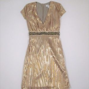 Badgley Mischka XS Gold Short Dress V neck Midriff